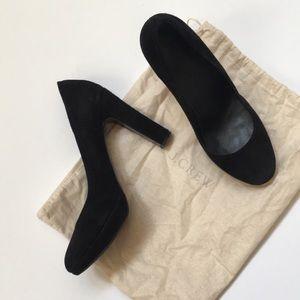 J crew black suede coddington high heels